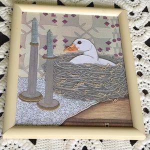 Vintage Duck Embroidered Artwork